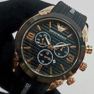 EMPORIO ARMANI AR5905 ROSE GOLD BLK SILICONE WATCH